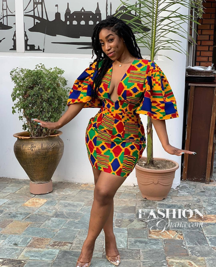 Kente Print Is Trending Again, Thanks To The Power Of Cleavage And Low V Neckline